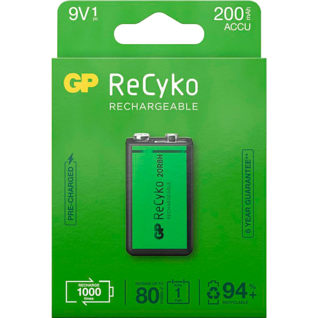GP Batteries Akku »9V Akku GP NiMH 200 mAh ReCyko 8,4V 1 Stück«, 200 mAh