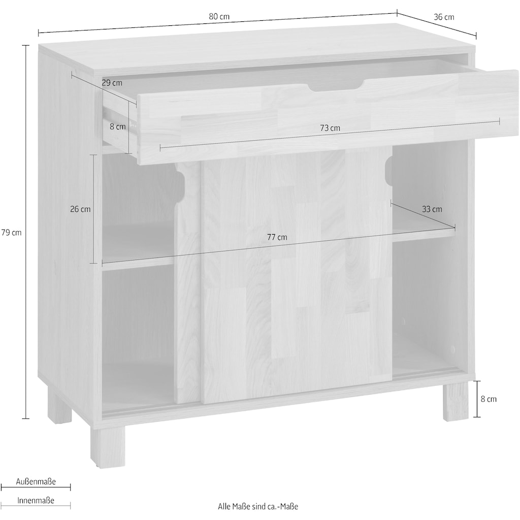 Home affaire Unterschrank »April«, Schiebetüren aus Massivholz, Breite 80 cm