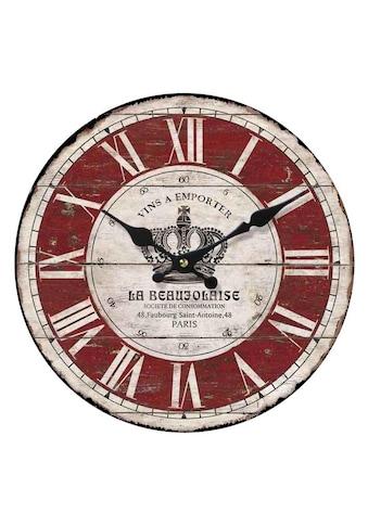 Home affaire Wanduhr »La Beaujolaise«, rund, Ø 34 cm, römische Ziffern kaufen