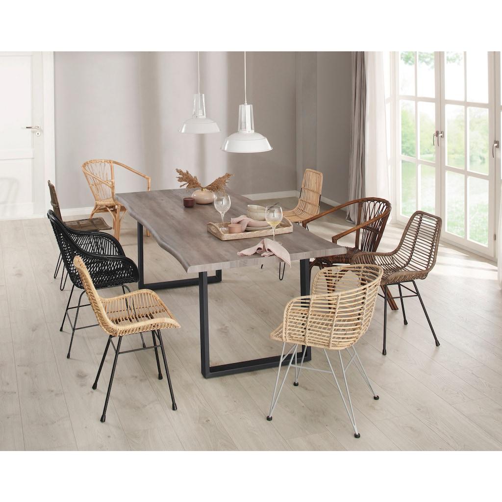 Home affaire Esszimmerstuhl »Jucita«, 2er Set, aus einem schönen Rattangeflecht, mit einem edlen Metallgestell, in unterschiedlichen Farbvarianten