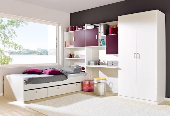 Jugendzimmer in Weiß und Lila