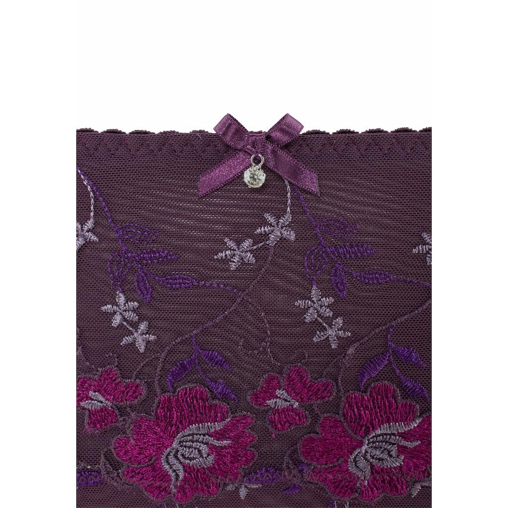 Nuance Slip, mit Blüten-Stickereien