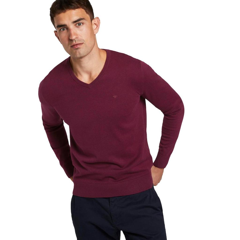 TOM TAILOR V-Ausschnitt-Pullover, mit Logostickerei