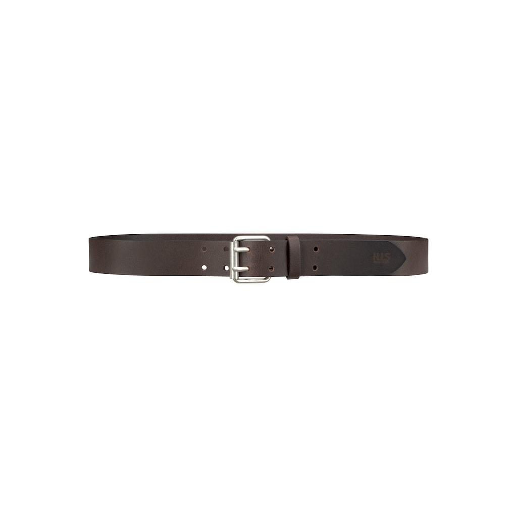 H.I.S Ledergürtel, Logo auf der Spitze, Klassischer Jeansgürtel, mit rustikaler Doppeldorn-Schließe