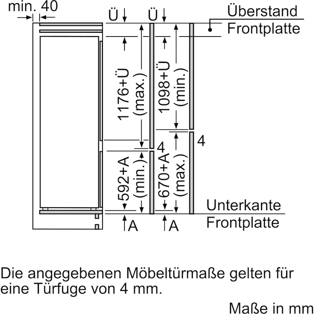 BOSCH Einbaukühlgefrierkombination »KIV87NSF0«, 2