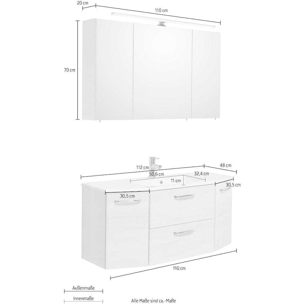 PELIPAL Badmöbel-Set »Quickset 936«, (Set, 2 St.), Spiegelschrank inkl. LED-Beleuchtung, Waschtisch-Kombination mit Mineralgussbecken, Metallgriffe, Türdämpfer