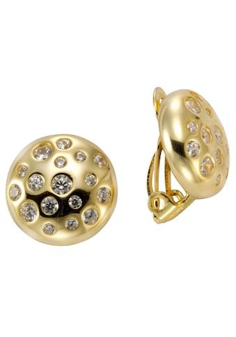 Firetti Paar Ohrclips »rund, gelbgoldfarben, Ø ca. 14 mm«, mit Zirkonia kaufen