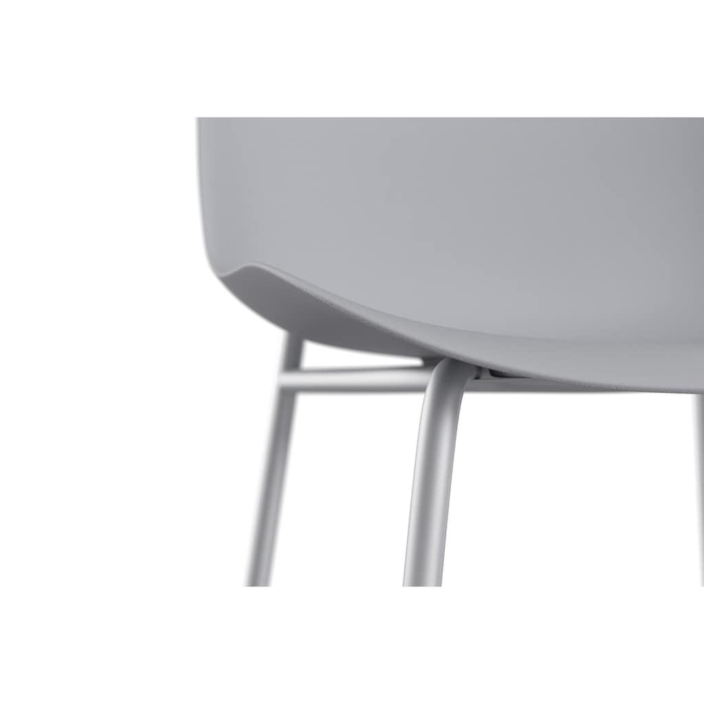 OTTO products Schalenstuhl »Lorrel«, 25 % recyceltes Ocean Waste Plastik, graues Metallgestell, Stapelstuhl, Sitzhöhe 46 cm