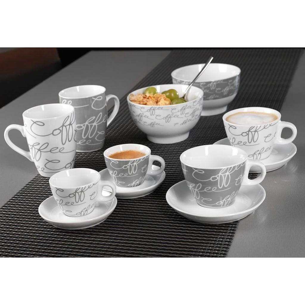Ritzenhoff & Breker Cappuccinotasse »Cornello Grey«, (Set, 4 tlg.), 2 Tassen, 2 Untertassen