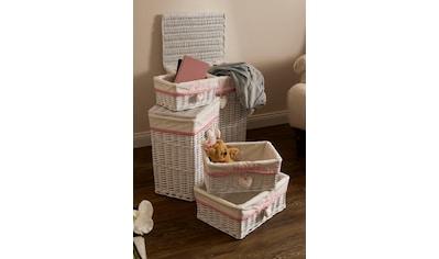 Home affaire Wäschekorb »Home«, (Set, 5 St.), weiß/pink kaufen