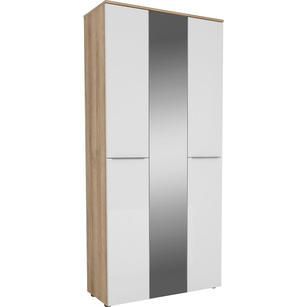 Maja Möbel Garderobenschrank »TREND Garderobenschrank 2571«, Oberplatte Holz, mittlere Tür mit Spiegel, 1 ausziehbare Kleiderstange