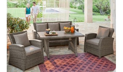 KONIFERA Loungeset »Siros«, (12 St.), 3-er Sofa, 2 Sessel, Tisch 135x82 cm, Polyrattan kaufen