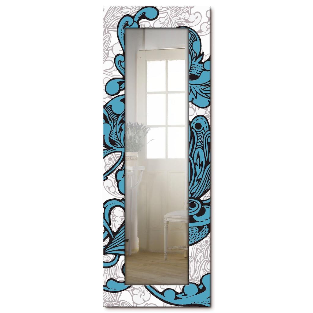 Artland Wandspiegel »Blue Ornaments«, gerahmter Ganzkörperspiegel mit Motivrahmen, geeignet für kleinen, schmalen Flur, Flurspiegel, Mirror Spiegel gerahmt zum Aufhängen