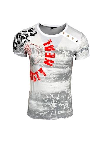Rusty Neal Rundhals-Shirt mit Logoprint und Knopfleiste kaufen