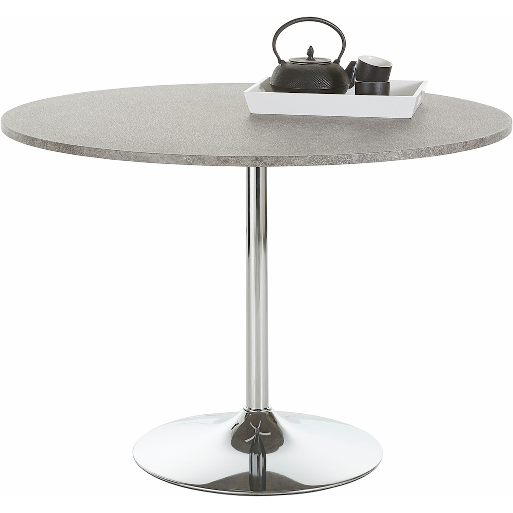 Esstisch »Trompet«, rund, Ø110 cm, Tischplatte weiß Hochglanz