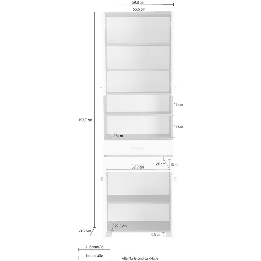 Schildmeyer Hochschrank »Mobes«, Breite/Höhe: 59,8/193,7 cm, Badschrank mit 2 breite Schubkästen, praktischen Regalfächern und durchgängige Böden hinter den Türen