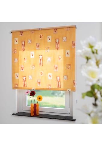 Liedeco Seitenzugrollo »Blumen orange«, Lichtschutz, freihängend, Seitenzugrollo,... kaufen