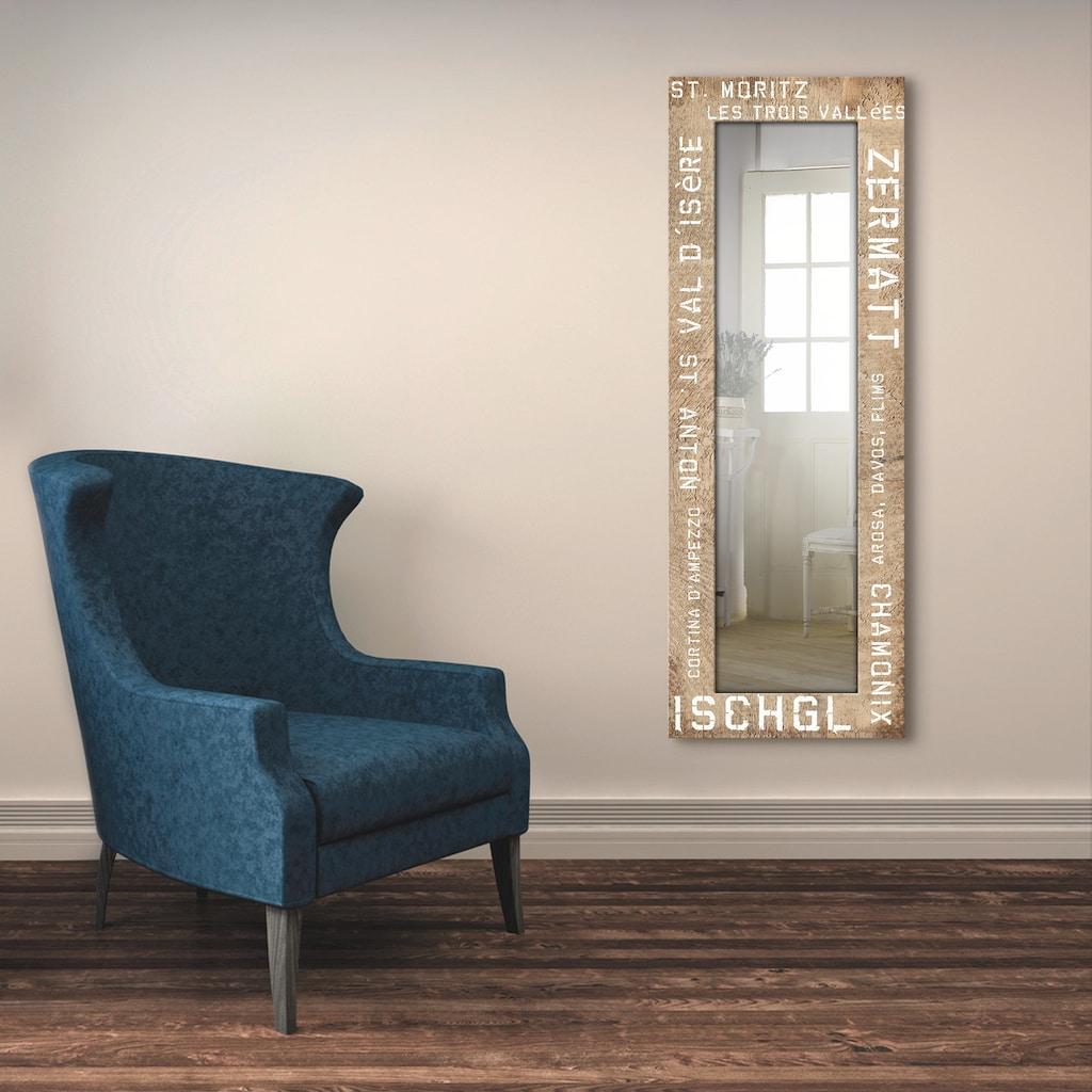 Artland Wandspiegel »Skigebiete«, gerahmter Ganzkörperspiegel mit Motivrahmen, geeignet für kleinen, schmalen Flur, Flurspiegel, Mirror Spiegel gerahmt zum Aufhängen