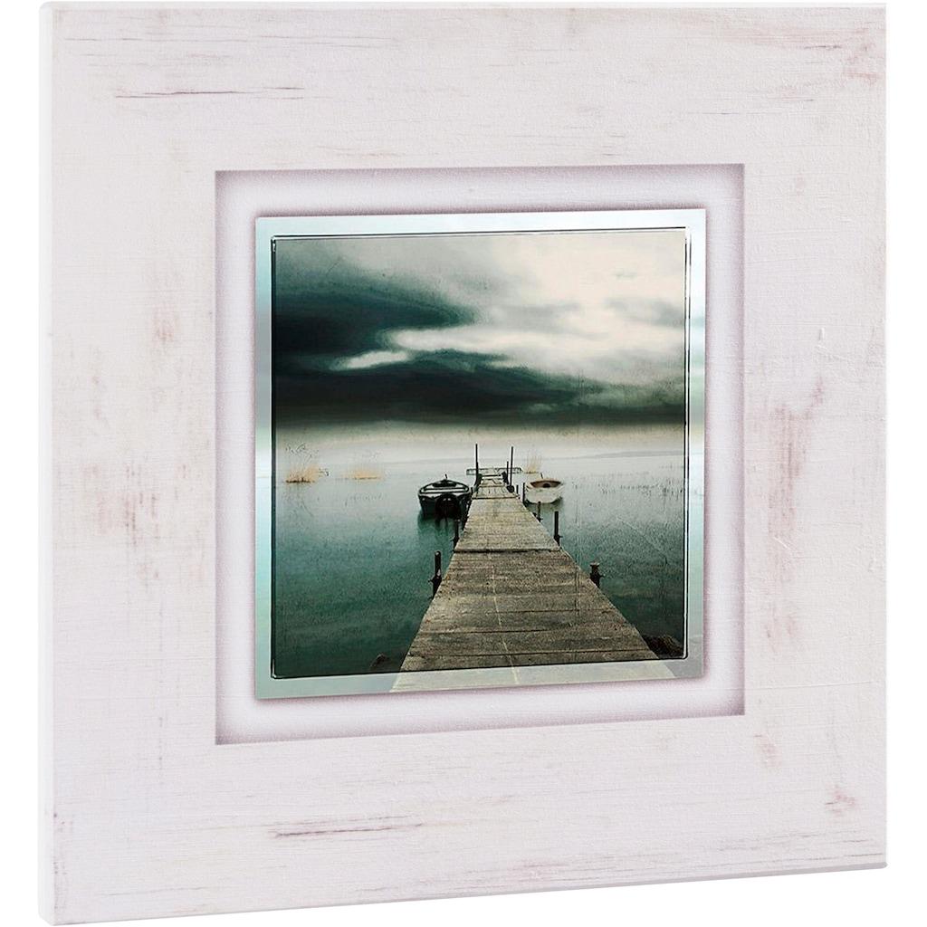 Home affaire Holzbild »Steg mit Booten«, 40/40 cm