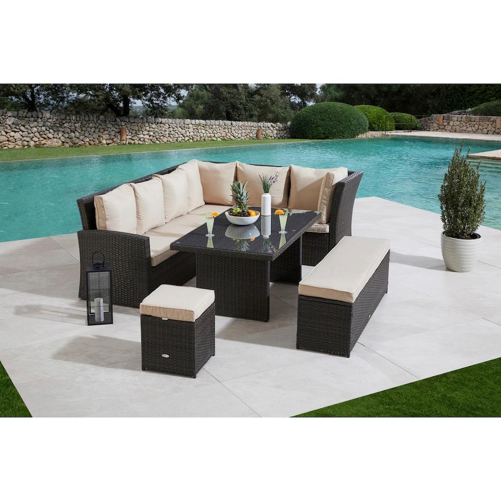 MERXX Gartenmöbelset »Barcelona«, (5 tlg.), 2 Sofas, Sitzbank, Hocker, Tisch