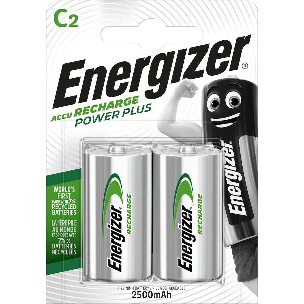 Energizer Akku »NiMH Power Plus, Baby (C) 2500 mAh 2 Stück«, Baby, C