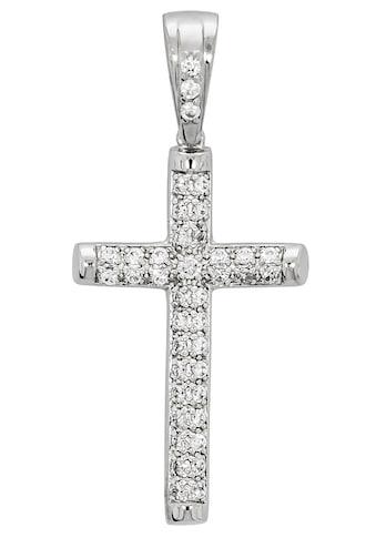 Firetti Kettenanhänger »glänzendes Kreuz, massiv und rhodiniert«, mit Zirkonia kaufen