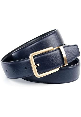 Anthoni Crown Ledergürtel, Wendegürtel in dunkelblau und schwarz, Schließe mattgoldfarben kaufen