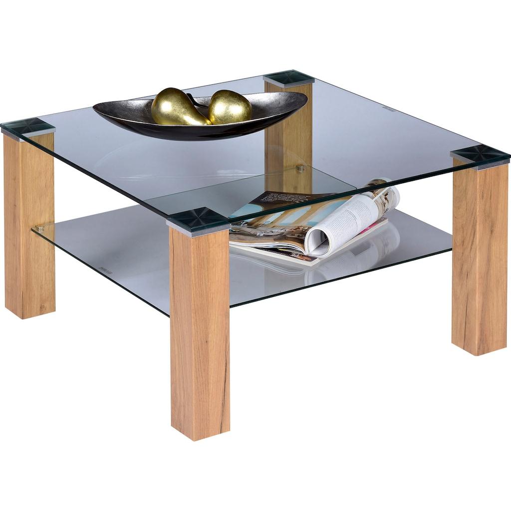 PRO Line Couchtisch, Couchtisch quadratisch mit Glasplatte und Glasboden
