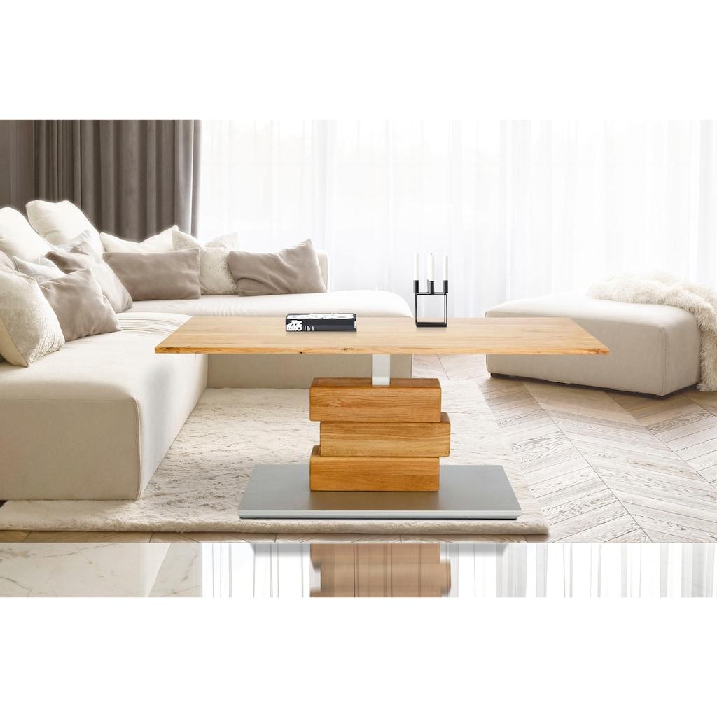 Home affaire Couchtisch »Jan«, aus massiver Wildeiche, höhenverstellbar von 47 auf 66 cm