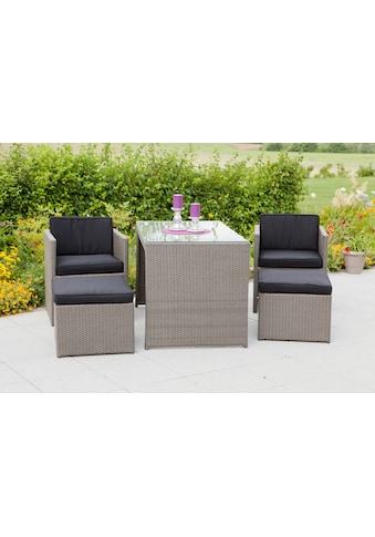 MERXX Set: Gartenmöbelset »Merano«, 11 - tlg., 2 Sessel, 2 Hocker, Tisch 128x70 cm, Polyrattan kaufen