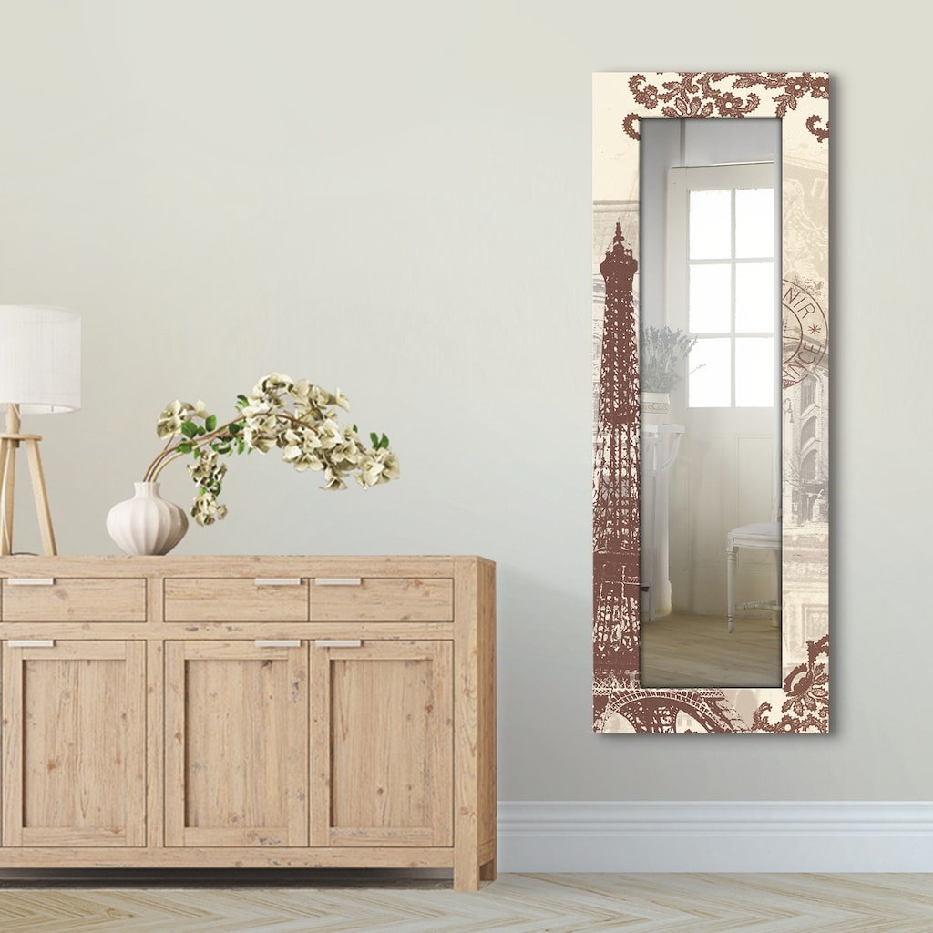 Artland Wandspiegel »Paris Collage«, gerahmter Ganzkörperspiegel mit Motivrahmen, geeignet für kleinen, schmalen Flur, Flurspiegel, Mirror Spiegel gerahmt zum Aufhängen