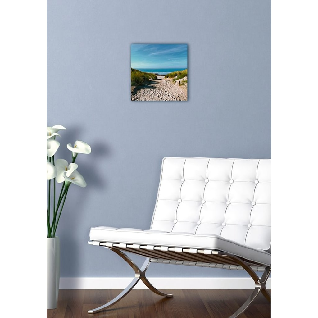 Home affaire Glasbild »Beach with sand dunes and a path to the sea«, 30/30 cm