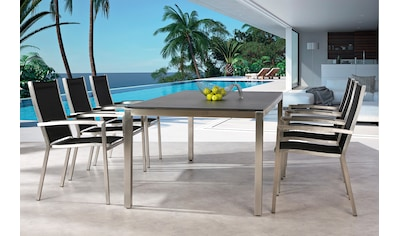 BEST Gartenmöbelset »Marbella«, 7 - tlg., 6 Stapelsessel, Tisch 210x100 cm, Stahl/Ergotex kaufen