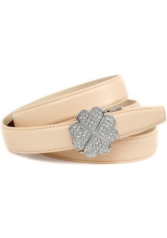 Anthoni Crown Ledergürtel, mit filigraner Schließe in Kleeblattopik kaufen
