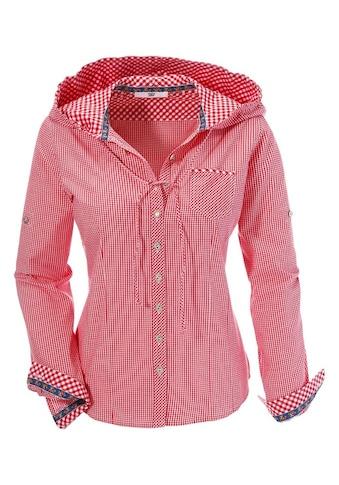 Country Line Trachtenbluse, Damen, mit Krempelärmel und leichter Kapuze kaufen