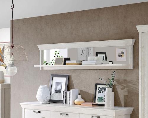 weißes Wandregal mit Spiegel