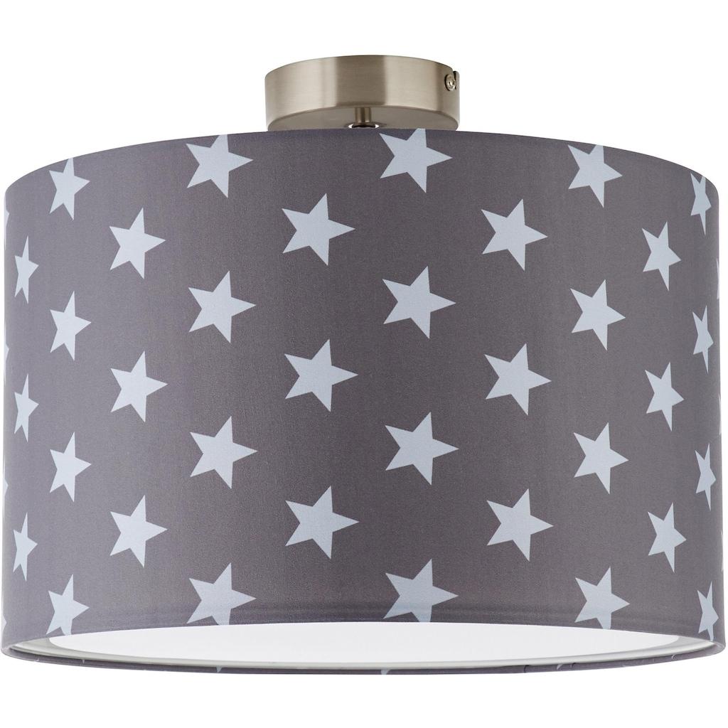 Lüttenhütt Deckenleuchte »Steern«, E27, Deckenlampe mit Sterne - Stoffschirm Ø 40 cm, grau / hellgrau, Höhe 32 cm