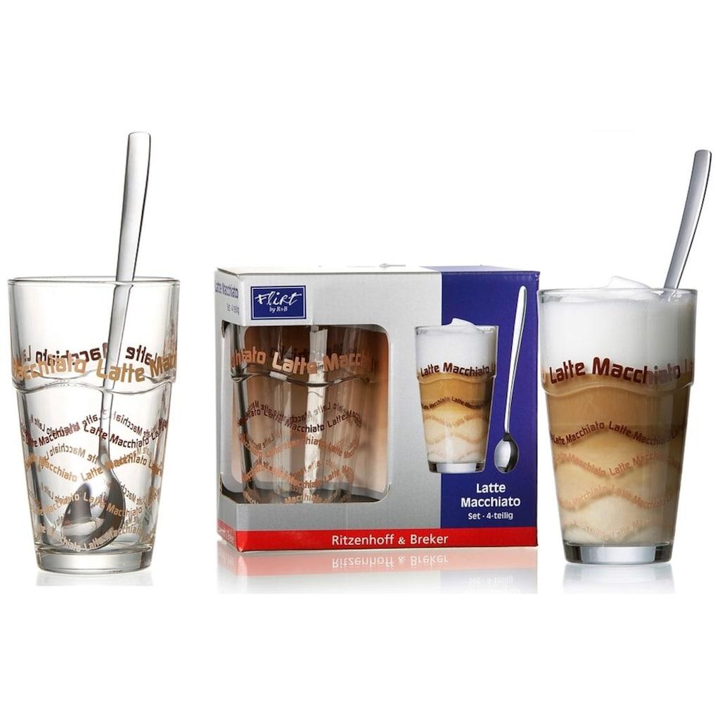 Ritzenhoff & Breker Latte-Macchiato-Glas, (Set, 8 tlg.), 4 Gläser, 4 Longdrinklöffel