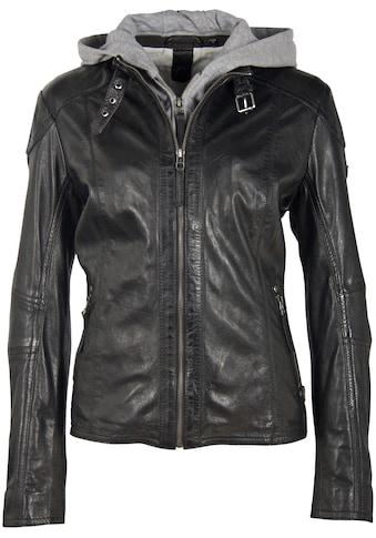 Gipsy Lederjacke »Keyla Comfort Size«, Comfort Size mit Biker-Details & Jersey-Kapuze kaufen