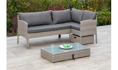 MERXX Gartenmöbelset »Viletta«, (3 tlg.), Ecksofa, höhenverstellbarer Tisch, mit Box kaufen