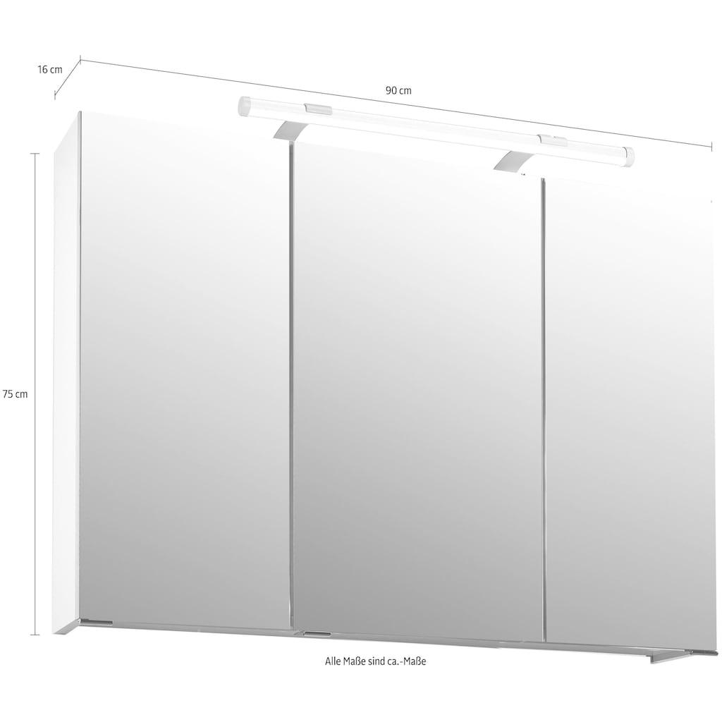 Schildmeyer Spiegelschrank »Dorina«, Breite 90 cm, 3-türig, LED-Beleuchtung, Schalter-/Steckdosenbox, Glaseinlegeböden, Made in Germany
