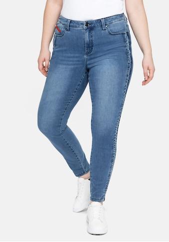 Sheego Stretch-Jeans, in Knöchlänge, mit seitlichem Tape kaufen