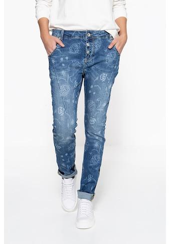 ATT Jeans Boyfriend-Jeans »Gwen«, mit floralem Muster und Crinkle Look kaufen