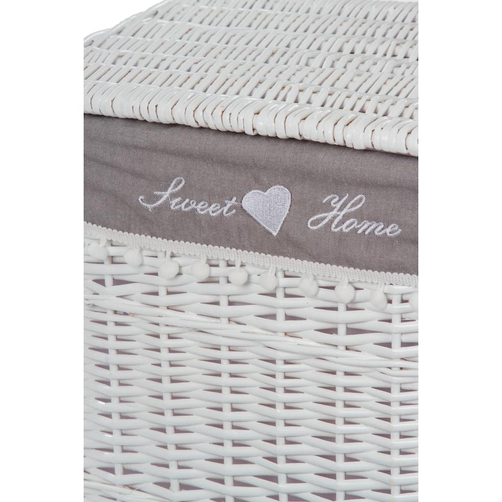 Home affaire Wäschekorb »Home«, (Set, 5 St.), weiß/grau