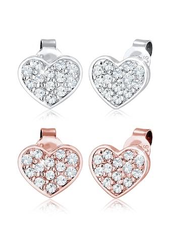 Elli Ohrring-Set »Set Herz Bi-Color Kristalle 925 Silber« kaufen