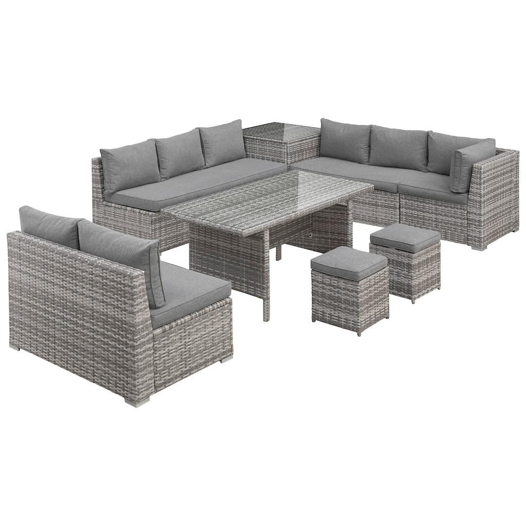 KONIFERA Loungeset »Kalamos«, (23 tlg.), 3er-Sofa, 2x 2er Sofa, Ecksofa, 2 Hocker, 2 Tische