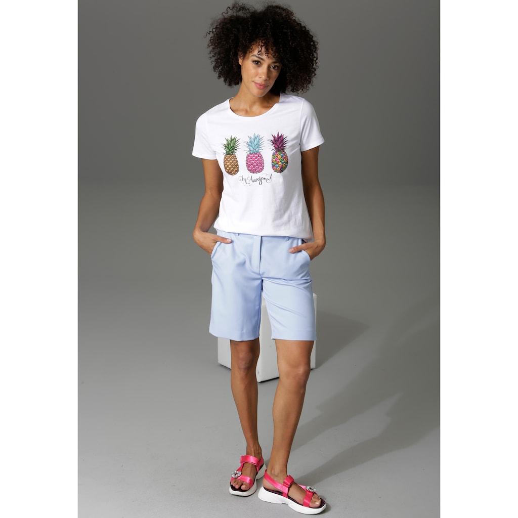 Aniston CASUAL T-Shirt, mit 3 bunten Ananas bedruckt