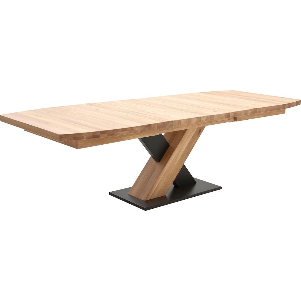 MCA furniture Esstisch »Mendoza«, Esstisch Bootsform mit X-Säule, ausziehbar