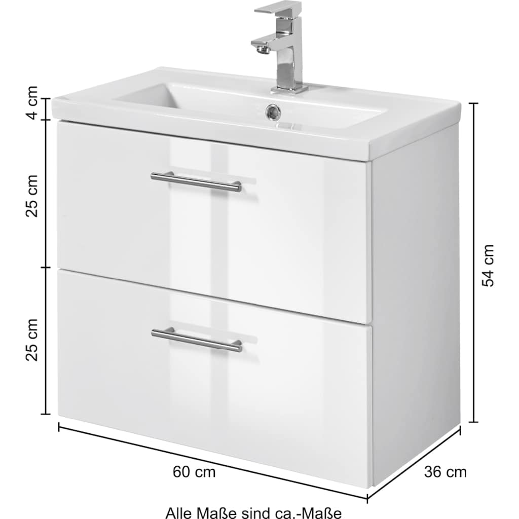 welltime Waschtisch »Trento«, Breite 60 cm, Tiefe 36 cm, SlimLine Badmöbel