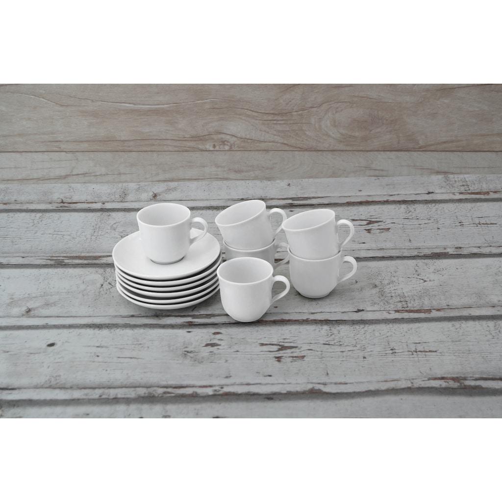 Retsch Arzberg Espressotasse »Bianca«, (Set, 12 tlg.), 6 Tassen, 6 Untertassen